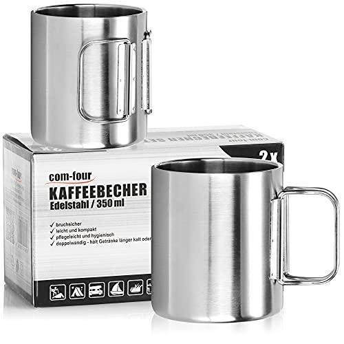 com-four® 2X Tazas de café de Acero Inoxidable 350 ml - Tazas térmicas de Acero Inoxidable Asas (Color Plateado - 350ml - 2 Piezas)