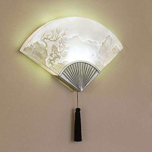 Yangmanini En Abanico Tallada Modelo Montaña Pared De La Lámpara LED, Luz Decorativa Creativa For Sala De Estar/Hotel/TV Fondo De La Pared/Corredor/Dormitorio 49 * 55cm