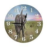 Reloj de Pared King of The Domain Reloj Redondo Decorativo Silencioso Relojes sin tictac con números Grandes Elegante Reloj de Escritorio para Cocina Oficina Escuela Hogar