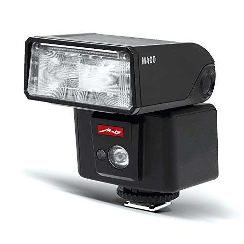 Metz 311185 - Flash M400 para Sony (ISO 100 y 105 mm, luz de vídeo LED, Zoom motorizado 24-105 mm), Negro