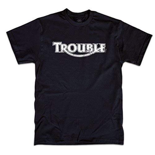 Triumph Trouble T-Shirt de Moto Noir Café Racer Style - Noir, Medium