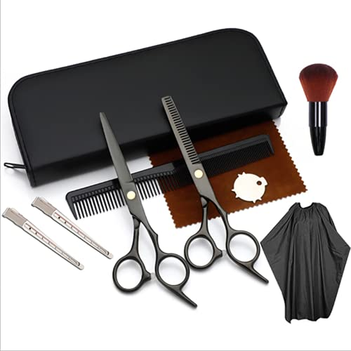 Tijeras de peluquería, juego de tijeras de peluquería profesional de 8 piezas, adecuado para peluquerías/salones/hogar/hombres/mujeres/niños,Black 10 piece set