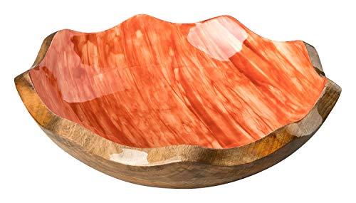 your castle Deko Schale Servierschale Obst Schale Mangoholz mit Emailledekor lebensmittelgeeignet Farbe Orange, ø 22 cm, H: 6 cm