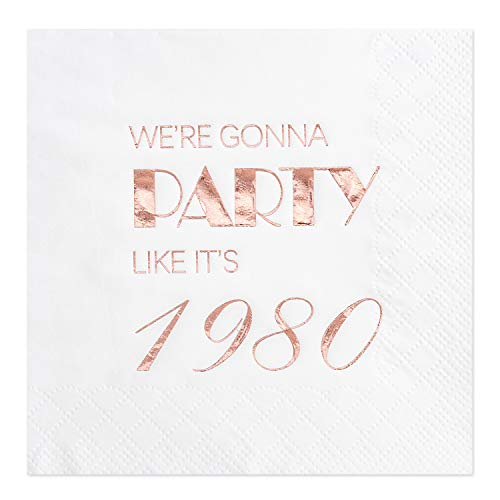 Crisky 40th Birthday Cocktail Napkins Rose Gold for Women 40th Birthday Party Decorations for Cake Dessert Berverage Table, 40th Birthday Party Supplies,50 Pcs Disposable Napkins, 3-Ply