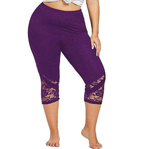 OYSOHE Damen Sport Leggings,Frauen Yoga Druck Trainings Mittlere Taillen Laufende Hosen Eignungs Elastische Gamaschen (XL, XX-Lila)