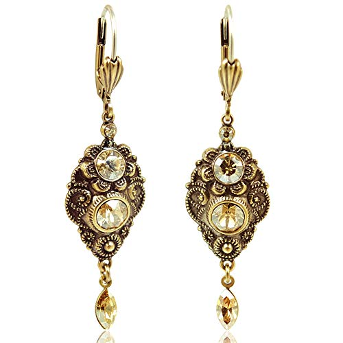 NOBEL SCHMUCK Jugendstil Ohrringe mit Kristallen von Swarovski® Gold Ohrhänger