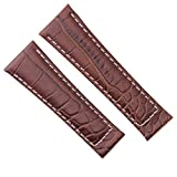 Croc Leather Band Strap Compatible with Rolex Daytona 16518 116520 Watch Brown Ws Regular