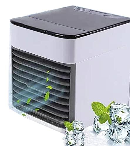 sZeao Mini Aire Acondicionado Enfriador De Aire Portátil 3 En 1Enfriador De Aire Y Humidificador Ventilador Purificador Nebulización con 3 Velocidades 7 Luces LED para Oficina Casa Coche