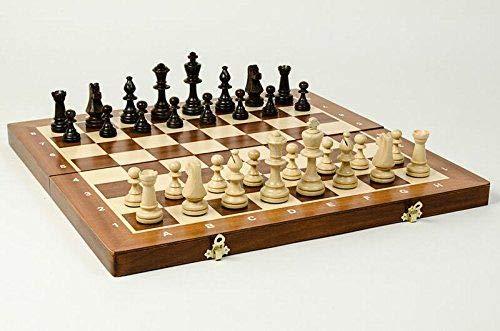 """Set di scacchi in legno da 48 cm TOURNAMENT professionale da 19 """" Scacchiera in mogano e sicomoro intarsiata e pezzi Staunton pesati"""