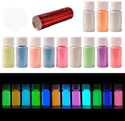 DEWEL 12 Farben * 20g Epoxidharz Leuchtpulver, Fluoreszierendes Pulver, Epoxid Harz Pigment, Leuchtpulver Set mit GRATIS UV Lampe