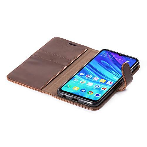 Mulbess Handyhülle für Honor 10 Lite Hülle, Leder Flip Case Schutzhülle für Huawei P Smart 2019 / Honor10 Lite Tasche, Vintage Braun - 6