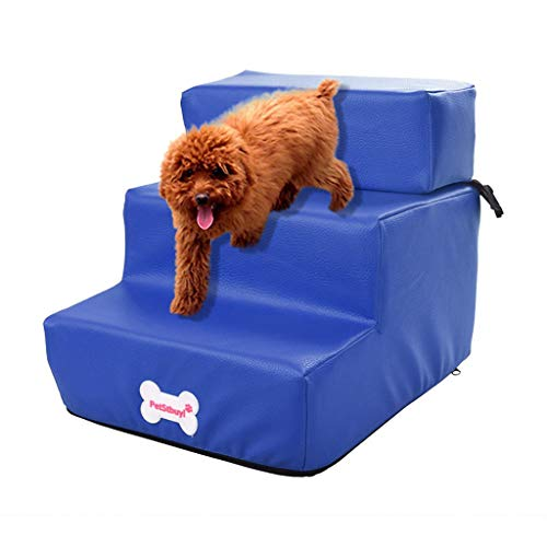 Jinjin Pet Stair Waterproof Leather Foldable Pet Stair Detachable Pet Bed Cat Dog Rampfurniture-Style Crates Sofas Chairs Stairs Steps (Blue)