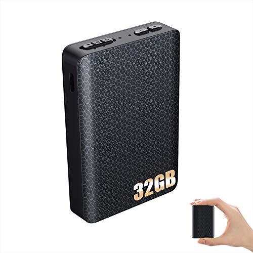 32GB Aufnahmegerät mit Stimmenaktivierung Magnetischer Digital Diktiergerät Abhörgerät Professionelles Mini Diktiergerät -2000mAh -300 Stunden Akku
