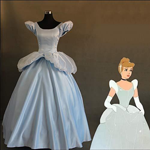 LJYNB 1: 1 vestido de Cenicienta para adultos de lujoazul claro para mujer disfraz de princesa disfraz de Cenicienta vestido de burbuja para escenario aceptar pedido personalizado M cenicienta