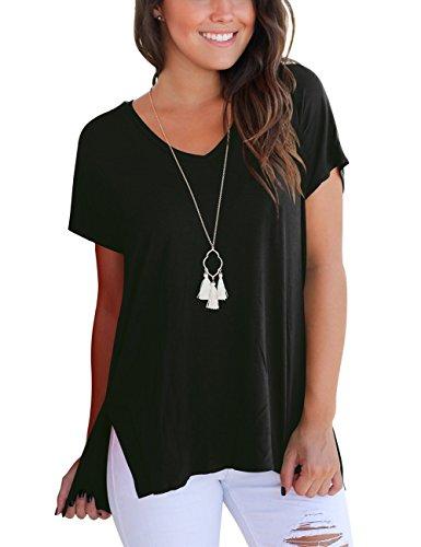 Aokosor Casual T-Shirt for Women Short Sleeve Loose Solid Tee Shirt Plus Size Black XL