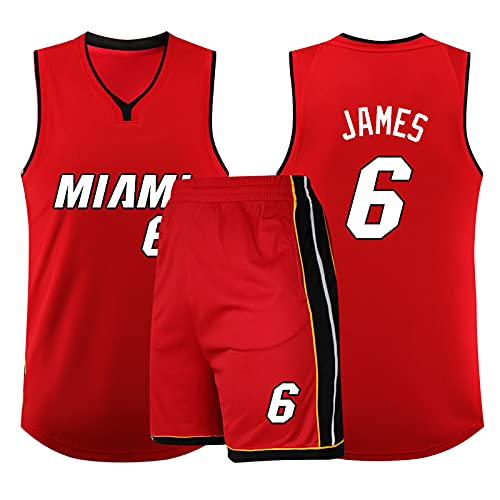 Maglia da Basket da Uomo NBA Legend - Miami Heat # 6 Lebron James Uniforme da Basket Maglia Ricamata Maglia Pantaloncini Set Swingman Jersey, Red-5XL (185~190cm)