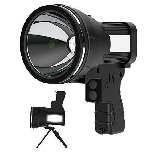 Anlook - Linterna táctica LED recargable superbrillante 18000 mAh, incluye cargador de pared, lámpara de linterna (2 modos), color negro