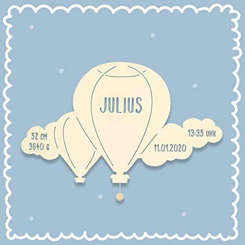 Nachtlicht Bruno der Ballon mit Wolke Kinderzimmer-Lampe/Tauf-Geschenk oder zur Geburt/Personalisiert mit Wunsch-Name für Mädchen oder Junge Schlummerleuchte [Energieklasse A++]
