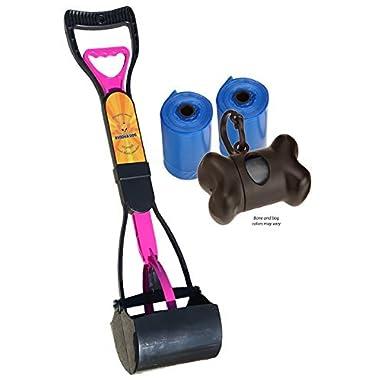 New Complete Poo Pack | Pooper Scooper, Poop Bags, and Pet Dog Waste Bag Holder (Pink)