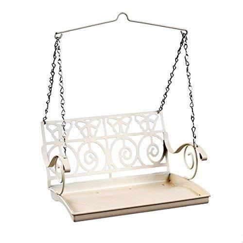Schommelzitje hangende Wild Bird Feeder in wit metaal, Franse romantische vintage stijl, cadeau-idee