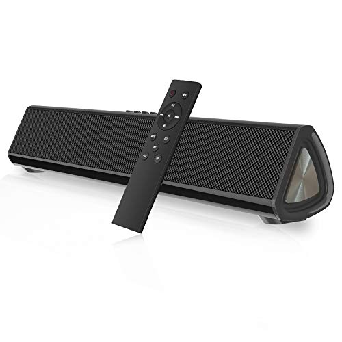 Portable Sound Bar for TV/PC, 105dB Bluetooth 5.0 Wireless & Wired Soundbar with 2200 mAh Battery, 3D Surround Sound Home Theater Built-in Subwoofer with Remote Control for Projectors/Phones/Tablets