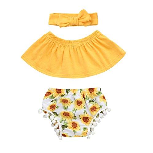 Counjunto de Ropa bebé niña Verano,Bebés Recién Nacidos Bebe Niña Verano Camiseta Mono Mameluco Tops + Pantalones Cortos + Diadema Conjuntos (Amarillo, Tamaño:6-12Mes)