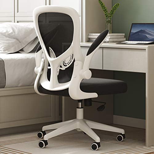 Hbada Office Chair, Ergonomic Desk Chair, Computer Mesh Chair with Lumbar Support and Flip-up Arms,White