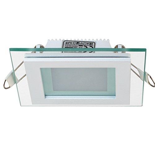 Slim Flach LED Panel mit Glas Rahmen Unterputz Einbaustrahler Einbauleuchte Einbaulampe Deckenleuchte Deckenlampe Lampe Eckig 96x96 mm 6w Kaltweiss