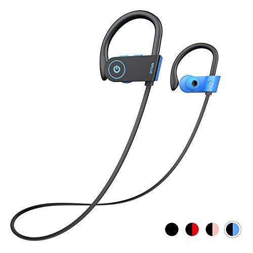 Bluetooth Headphones, Otium Wireless Headphones IPX7 Waterproof in-Ear Sports Earphones w/Mic for Gym Running Cyclying Workout (Blue)