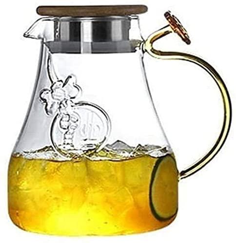 aipipl Jarra de Vidrio de 1,4 l/litro, Jarra de Vidrio de borosilicato sin Plomo, Jarra de Agua con Tapa, Jarra de té con Pico, Botella de Agua para Agua fría, Zumo de Frutas, etc.