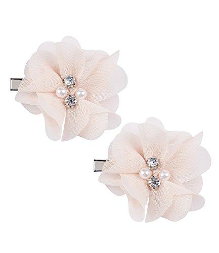 SIX Hochzeit Damen Haarspange, Haar Clip, Duck Clip, Haarschmuck, Blume, Blüten, mit Zierperlen und Strasssteinen (24-602)