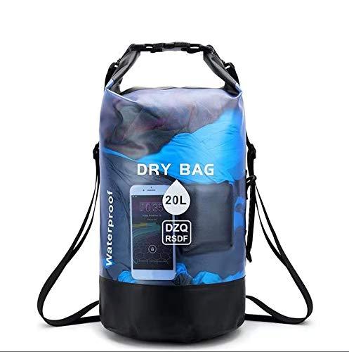 DZQ RSDF Dry Bag 10l y 20l - Bolsa estanca | como Accesorio de Camping | Barco Inflable | Kayak | Rafting | Canoa | Natación | Playa | Canotaje | Camping | Buceo Remar | Surf | Pesca (Azul,10L)