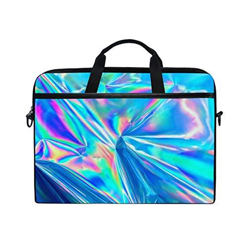 Laptop Shoulder Messenger Bag Case Sleeve for 15 Inch 15.4 Inch Laptop Case Laptop Briefcase Holographic Iridescent Surface Wrinkled Foil Pastel