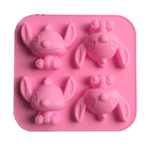 Cute 4-hole Cartoon Stitch Star Baby Silicone Mold for DIY Chocolate Crystal Cupcake Cake Topper Decor Ice Cube Candy Desserts Fondant Soap Mould Jelly Shots Gum Paste Pudding Handmade Ice Cream