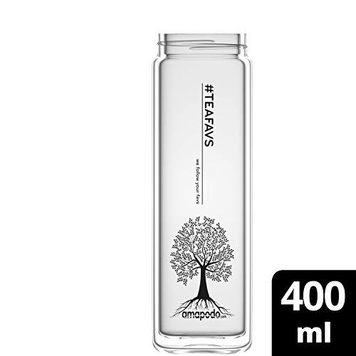 amapodo Teeflasche Ersatzglas - Tee Glas Flasche einzeln 400ml (Design Tree Tea)