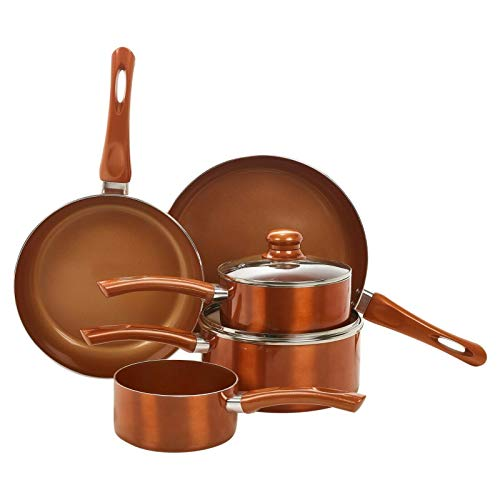 ADHW 5 PC Metal Ceramic Copper Induction Cook Saucepan Frying Pan Pot Set