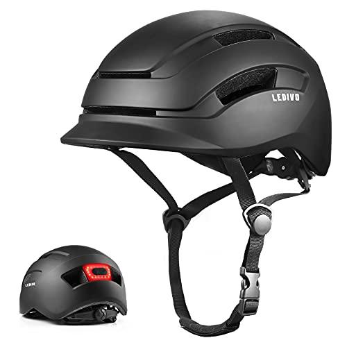 LEDIVO Adult Bike Helmet, Sleek Light & Cool Bicycle Helmet with CPSC & CE Certified, Safty Rear Light Bike Helmet, Adjustable Size Cycling Helmet for Urban Commuter Women Men Adlut