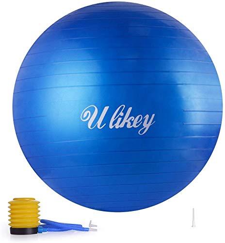 Ulikey Ballon de Gymnastique Balle d'Exercice Balle Fitness, 65cm Maximale jusqu'à 300 kg, Ballon Gym avec Pompe Antidérapant pour Pilates, l'exercice, Yoga (Blue)