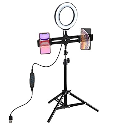 Karamoda 16Cm LED Ring Light with Tripod Stand,...