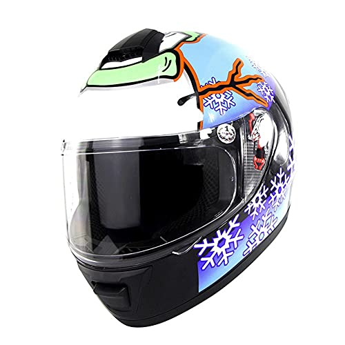 Casco Moto Integral ciclomotor de Motocicleta Cascos integrales Casco de Carreras de Bicicleta de Calle, Adultos Hombres Mujeres Dot/ECE Homologado (Color : Snowman, Size : L/Large 57-58cm)