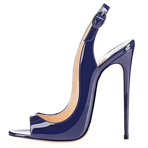 elashe Damen Knöchelriemchen Lackleder Pumps | Peep Toe Stiletto 12CM Sandalen | Slingback Hochzeit Schuhe Blau EU42