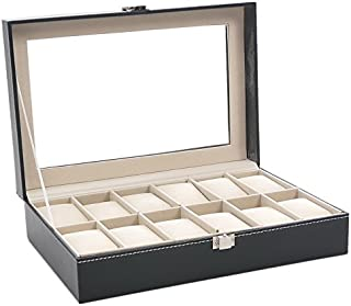 Housweety Watch Box Large 12 Mens Black Leather Display Glass Top Jewelry Case Organizer