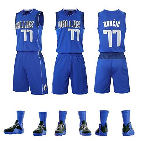 Dallas Mavericks #77 Luca Doncic Camisetas de Baloncesto Jersey Y Pantalones Conjunto Sport,Bordado Transpirable y Resistente al Desgaste Camiseta para Fan,Azul,L