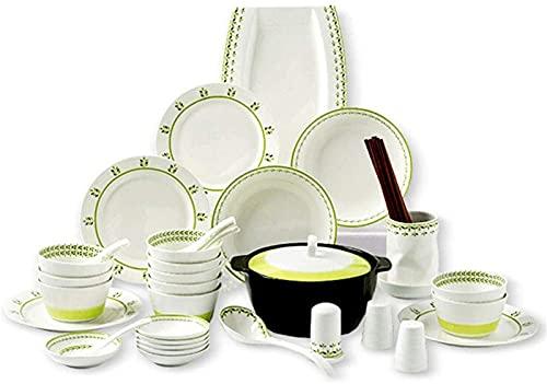 Juego de platos, Juego de vajillas de porcelana para 10 personas, conjunto de platos de cena de 46 piezas, apto para uso diario o ocasiones formales, lavavajillas y horno de microondas, caja fuerte, r