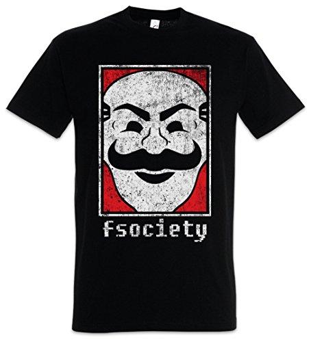 Urban Backwoods Mr. Fsociety Logo Herren T-Shirt Schwarz Größe L