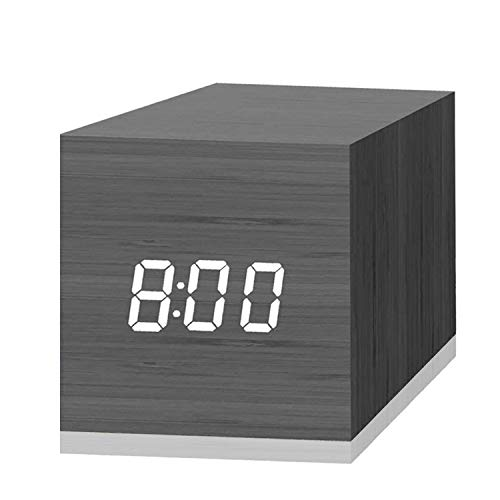 Digital Alarm Clock, with Wooden Electronic LED Time Display, 3 Dual Plus Alarm, 2.5-inch Cubic Small Mini Wood Made Electric Clocks for Bedroom, Bedside, Desk, Black