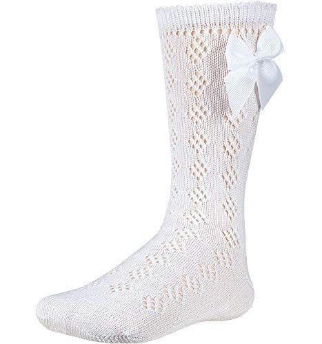 YSABEL MORA Calcetín para bebé con bonito diseño perforado y lazo de raso. Color blanco. 24/26 EU