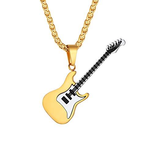 Suplight 18k vergoldet E-Gitarre Halskette Herren Jungen Anhänger mit Kette Elektrische Bass Gitarre Hip Hop Modeschmuck Accessoire für Gitarristen Musiker
