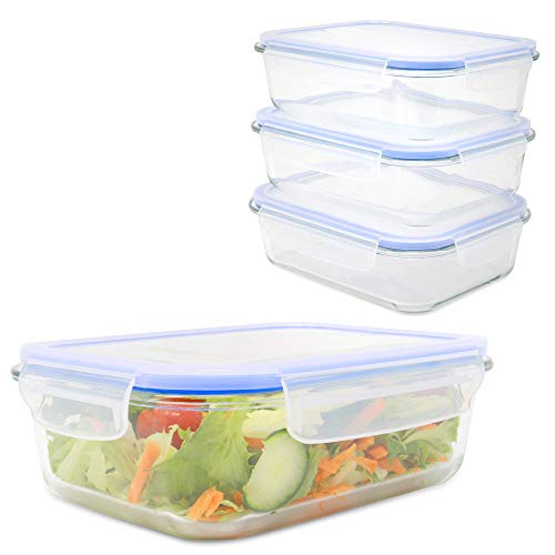 Maison & White Set von 4 luftdichten Frischhaltedosen | 4 x Glaswannen | BPA-freie Schnappverschlüsse mit Entlüftungsschalter | Mikrowelle, Geschirrspüler und Gefrierschrank Safe