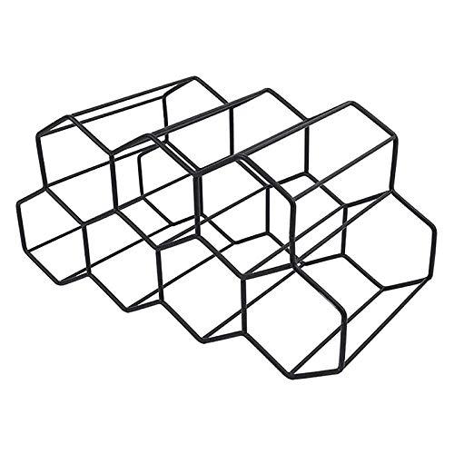 JIAHU Moderno metal panal vino estante almacenamiento botella colmena mesa hexagonal negro 1 unidad